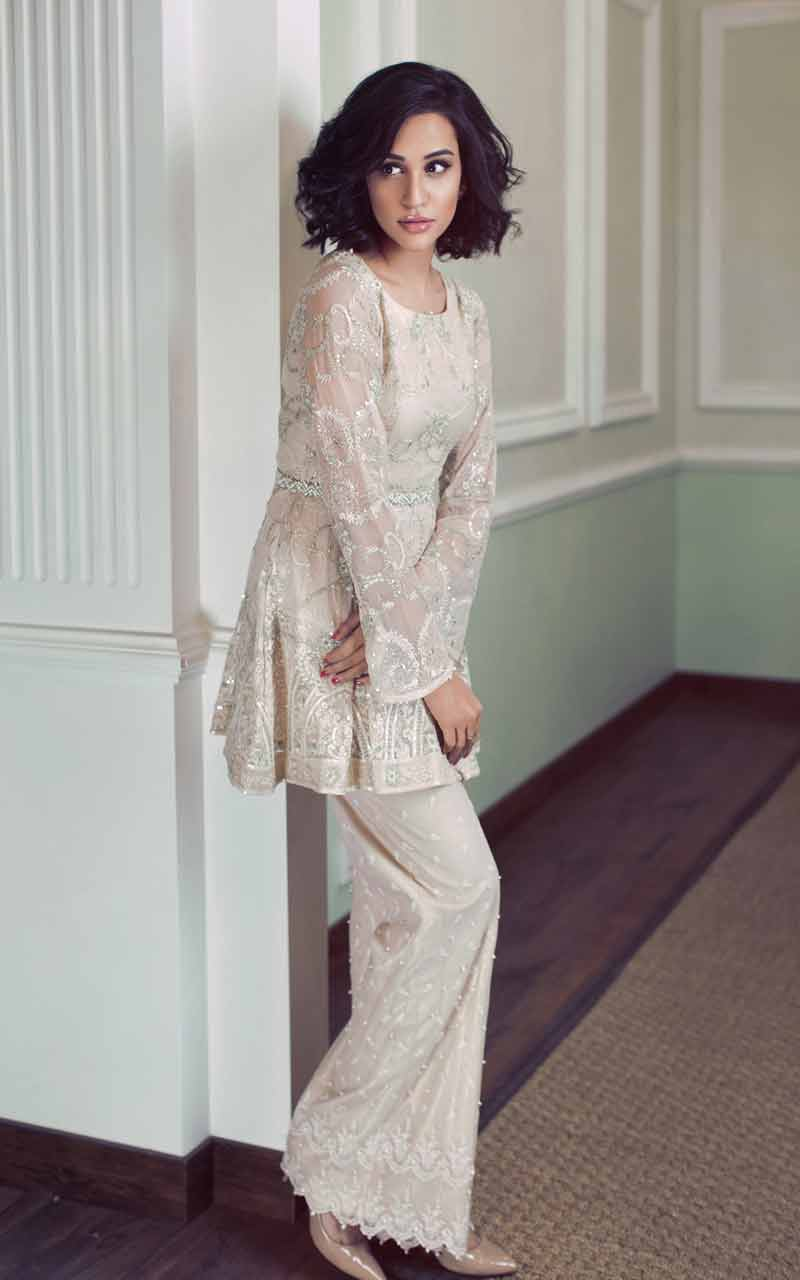 best off white Latest off white short frock designs with sharara in 2018