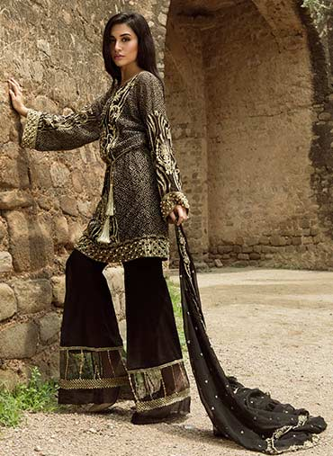 gorgeous black short shirt with sharara dress for barat day 2017