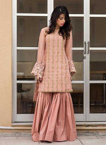 Latest Wedding Party Wear Short Shirt With Sharara