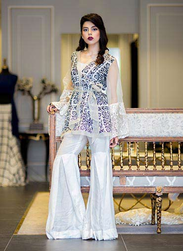 best saira rizwan party wear short shirt with sharara designs 2017 collection
