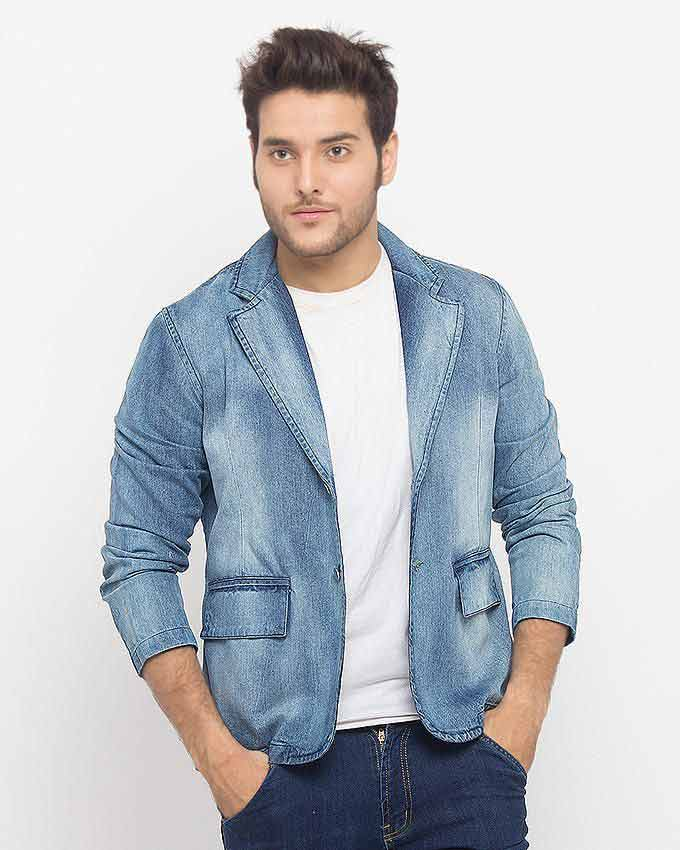 best light blue denim winter casual coats for men in Pakistan 2018