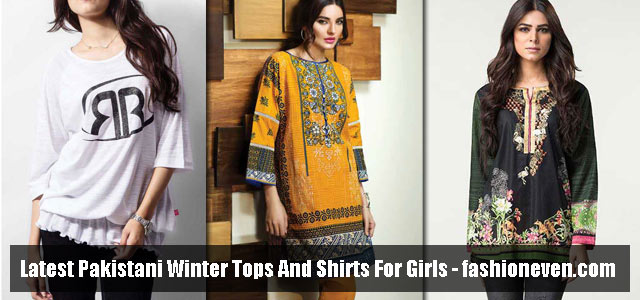 Pakistani designer winter tops and short shirts 2017
