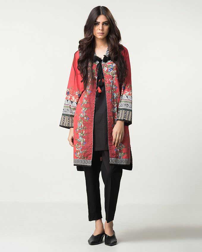 new red and black gown winter dresses in Pakistan