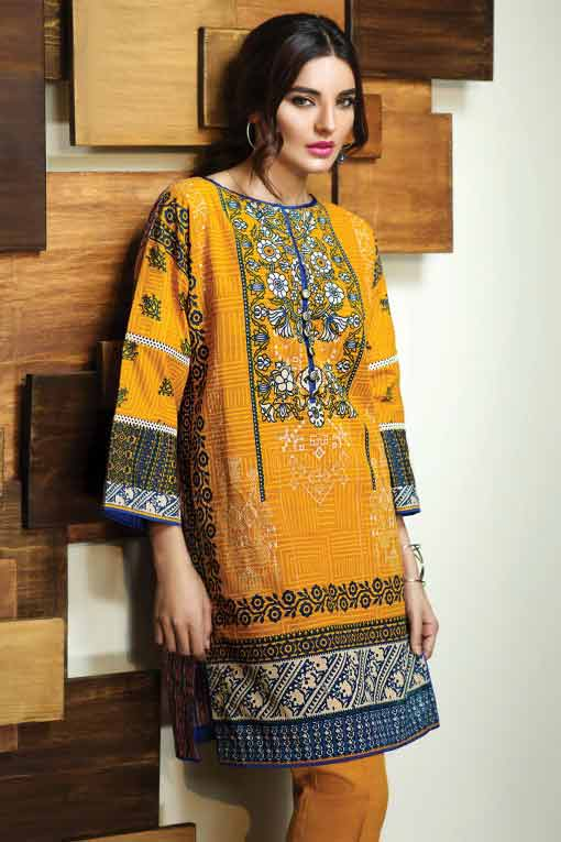 Mustard short winter dresses in Pakistan 2018 for girls