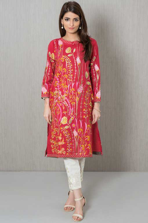 Best red shirt with white pants winter dresses in Pakistan 2018 for girls