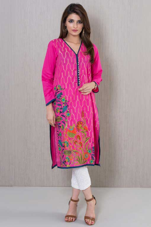 Shocking pink embroidered shirt with white pants winter dresses in Pakistan 2018 for girls