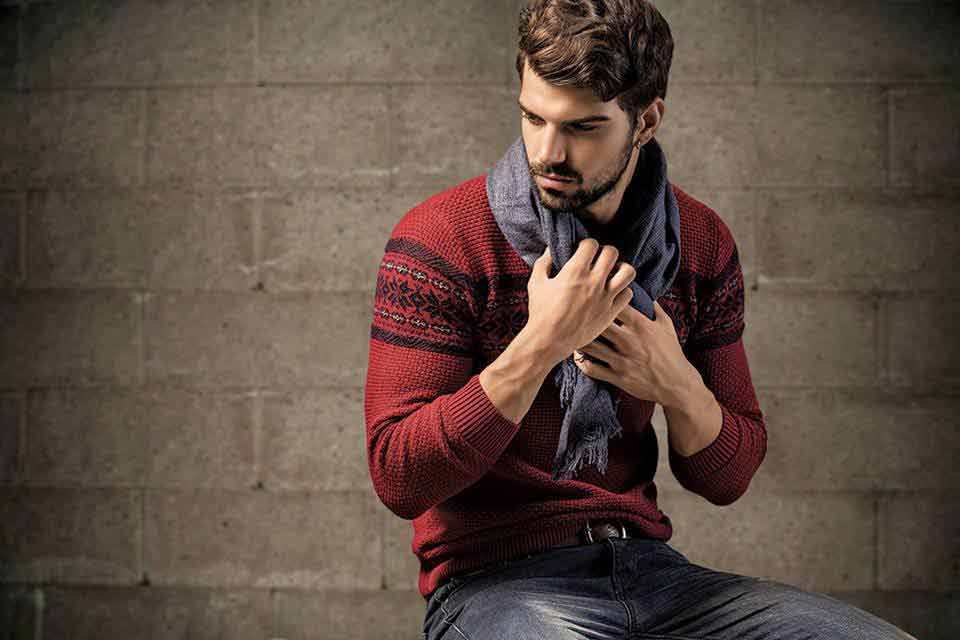 latest grey sweater scarf for men latest winter fashion accessories trend 2017 2018 in Pakistan