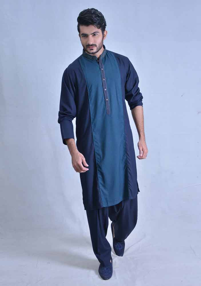 classy deep blue best pakistani men kurta shalwar kameez designs 2017