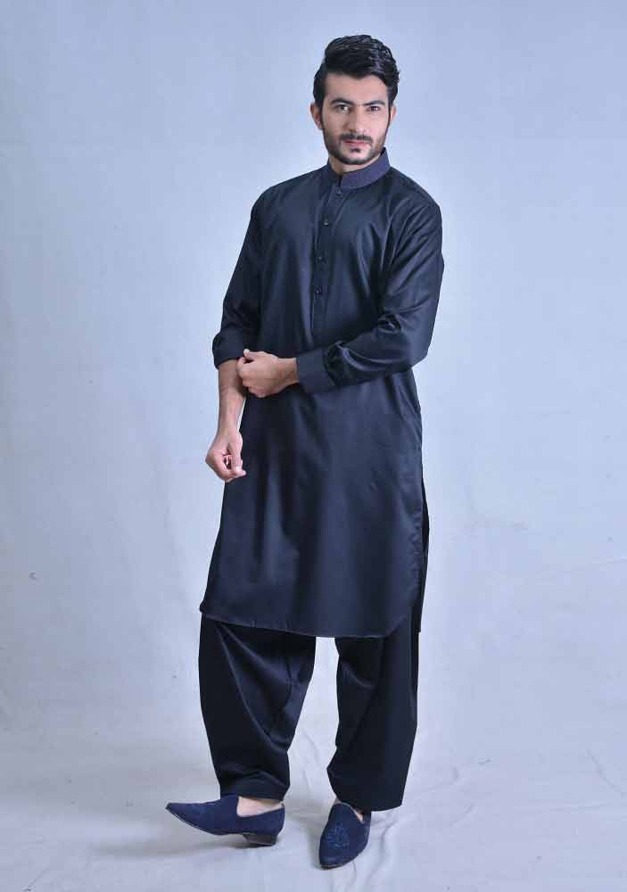 latest deep blue best pakistani men kurta shalwar kameez designs 2017