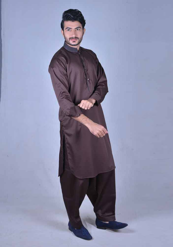 classy dark brown best pakistani men kurta shalwar kameez designs 2017