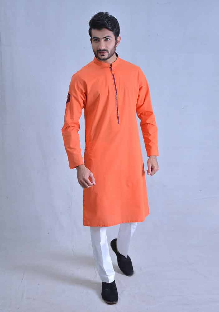 trendy orange best pakistani men kurta shalwar kameez designs 2017 with white trouser or pajama pants