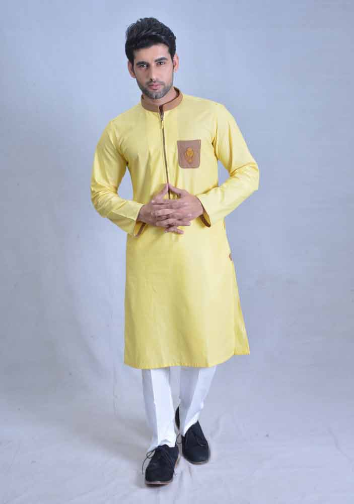 decent yellow best pakistani men kurta shalwar kameez designs 2017 with white trouser or pajama pants