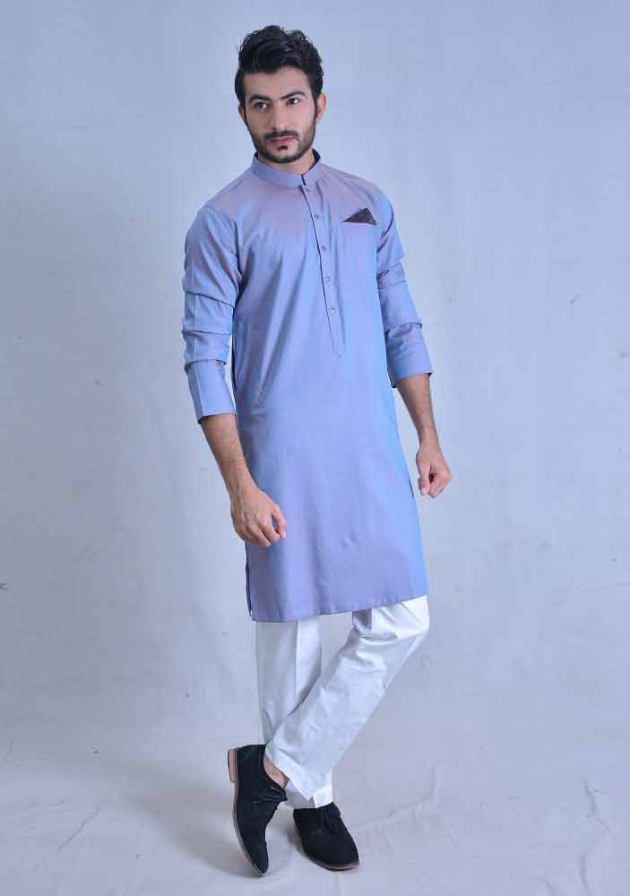 latest sky blue best pakistani men kurta shalwar kameez designs 2017 with white trouser or pajama pants