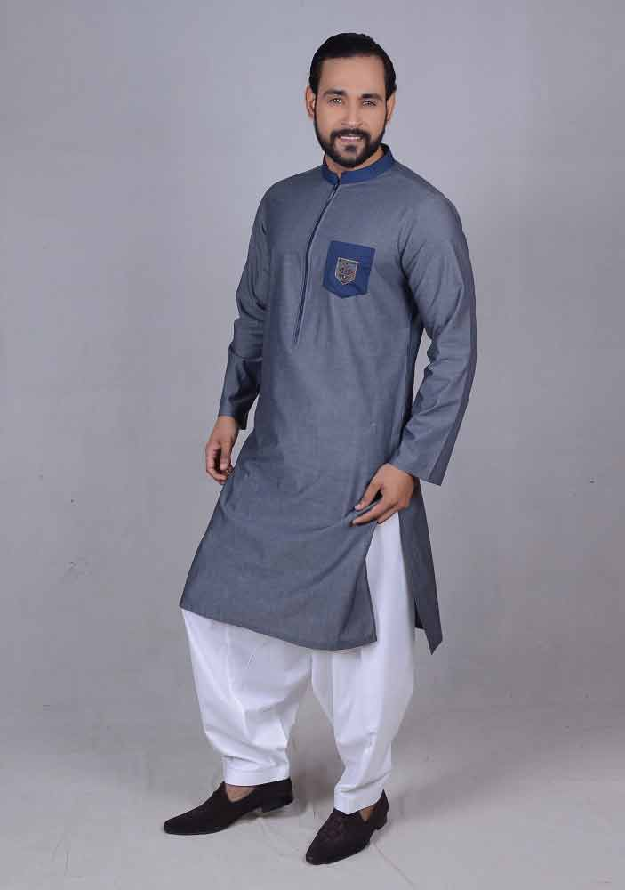 new blue best pakistani men kurta shalwar kameez designs 2017 with white shalwar
