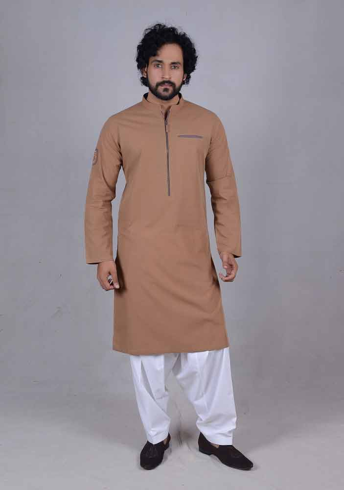 trendy brown best pakistani men kurta shalwar kameez designs 2017 with white shalwar