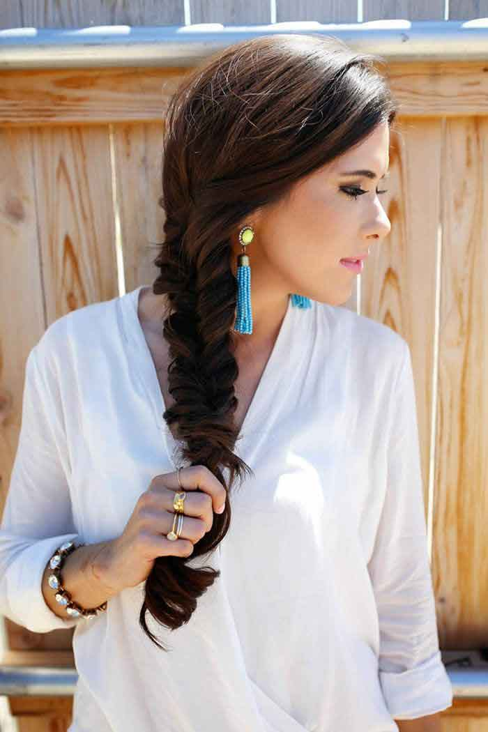best fishtail eid hairstyles 2017 for pakistani girls for long hair
