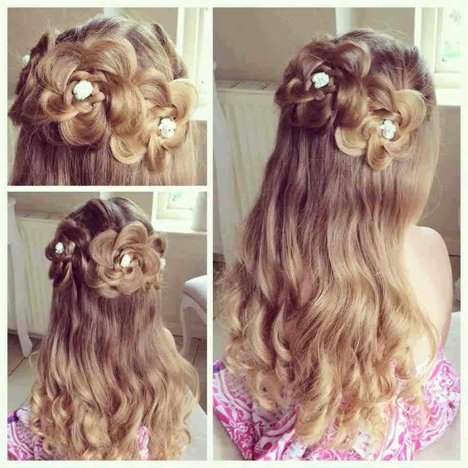 amazing floral hairstyle with pearls adorned for medium hair length eid hairstyles 2017 for pakistani girls