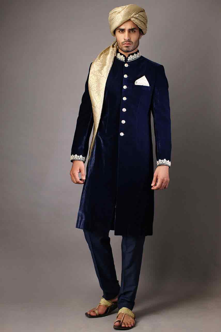 best stylish navy blue pakistani mens wedding sherwani barat dresses 2017 with golden pagri or turban