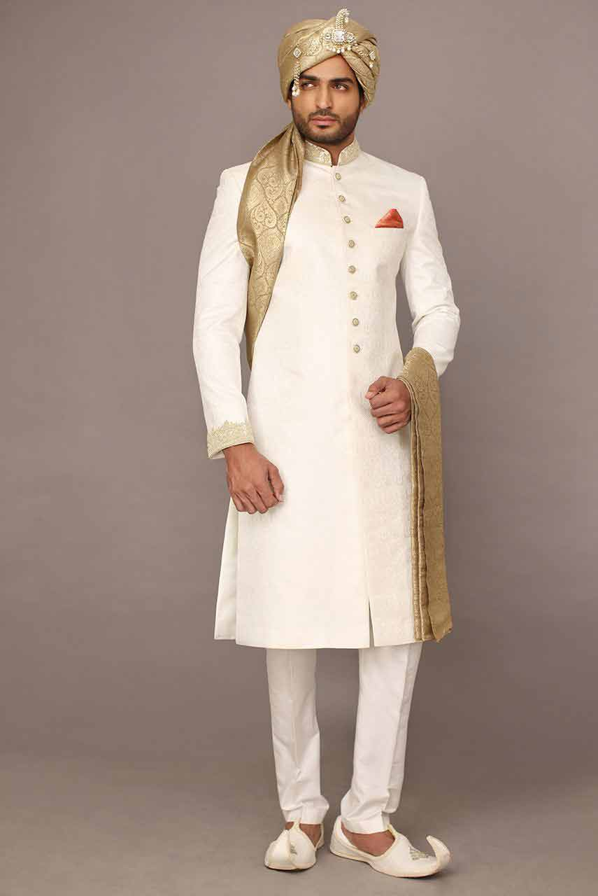 new white pakistani mens wedding sherwani barat dresses 2017 with golden turban or pagri