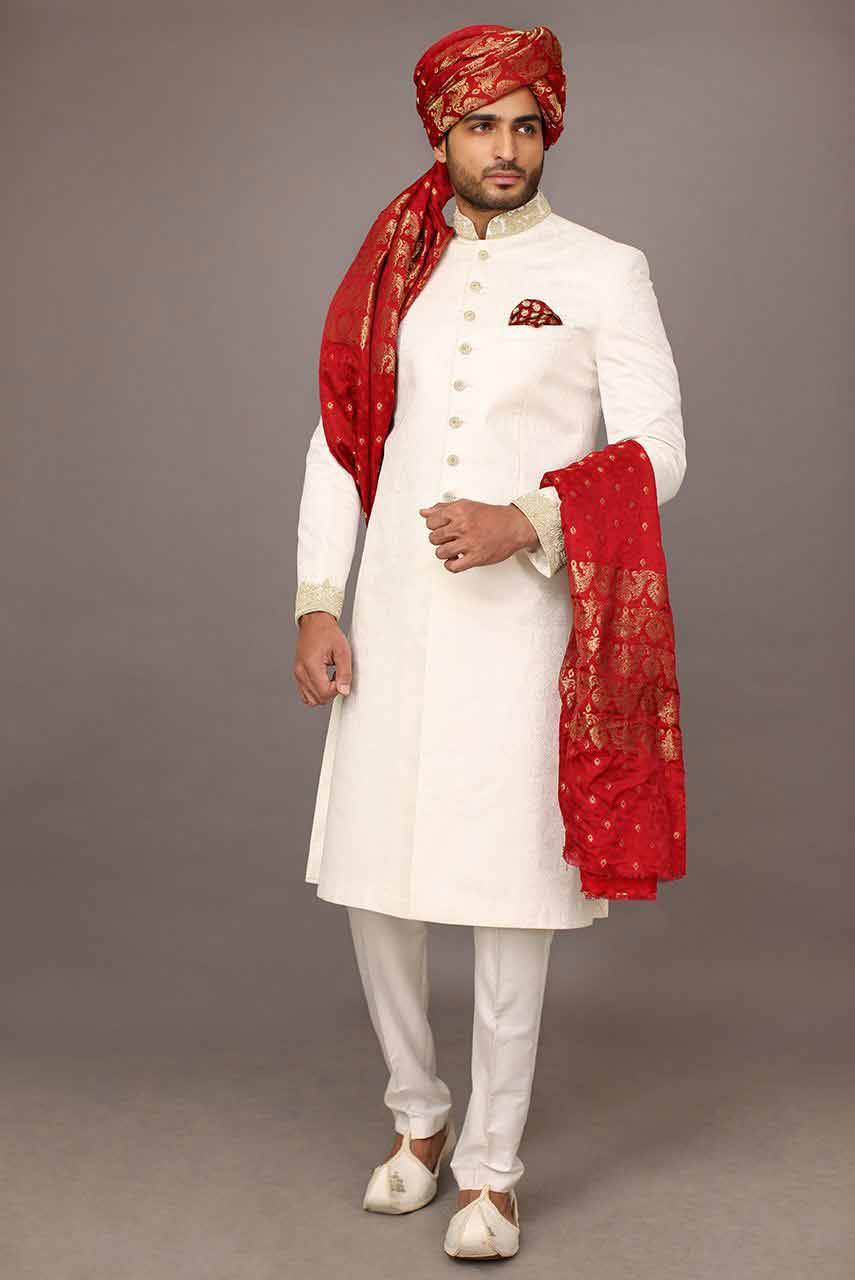 best white latest pakistani mens wedding sherwani barat dresses 2017 with red turban
