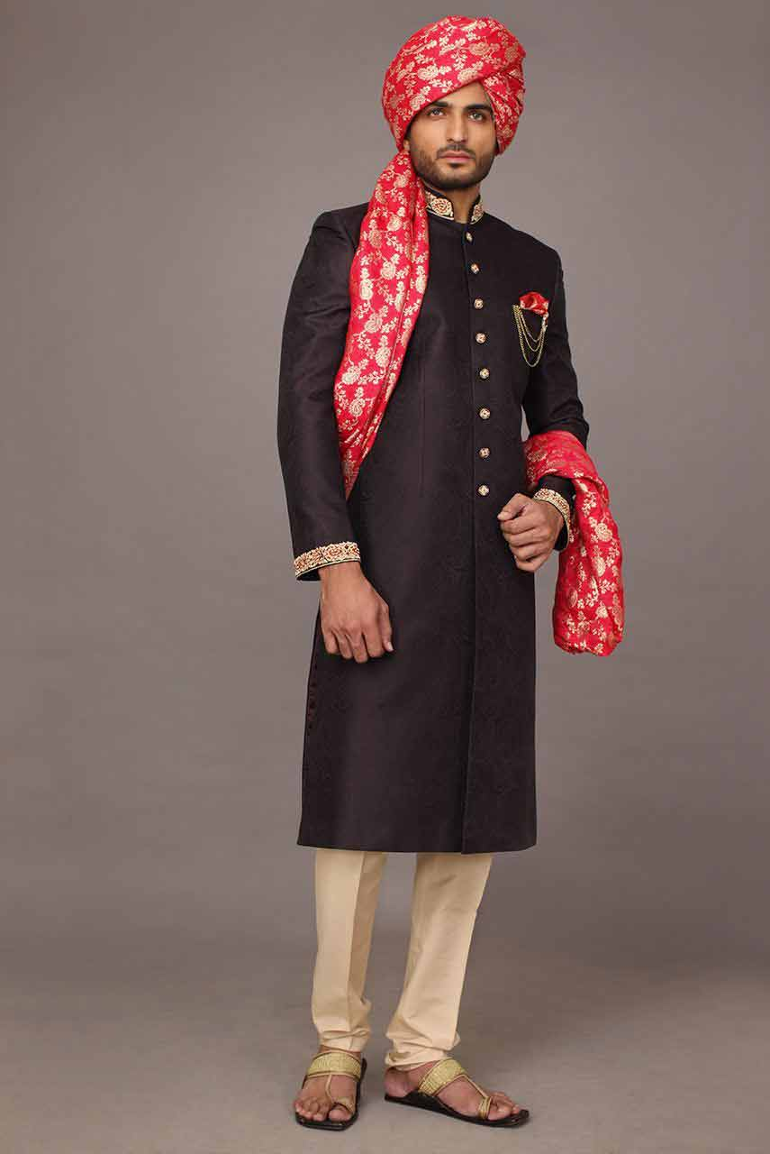 best stylish black pakistani mens wedding sherwani barat dresses 2017 with pink turban or pagri and patka