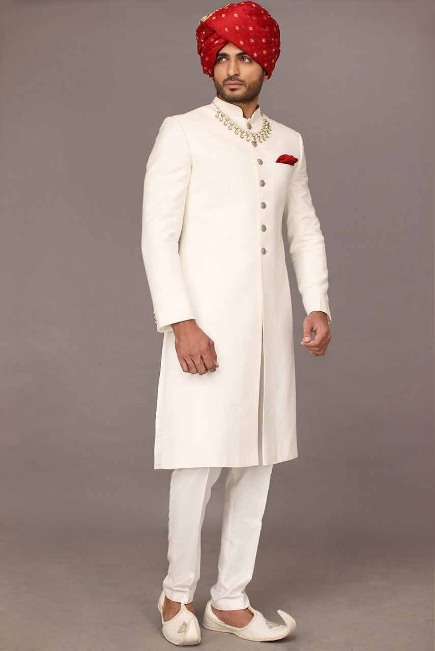 latest white best pakistani mens wedding sherwani barat dresses 2017 with red turban or pagri