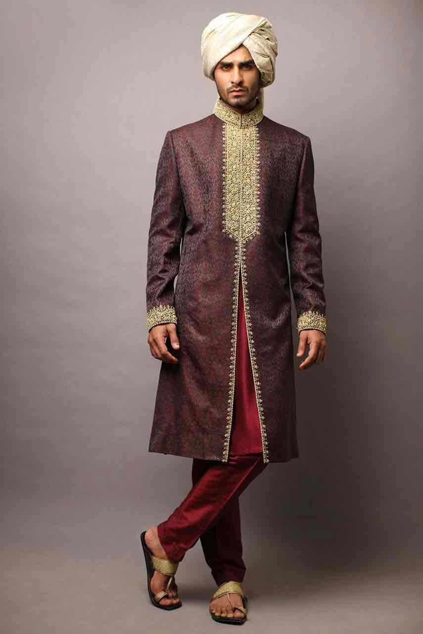 amazing brown pakistani mens wedding sherwani barat dresses 2017 with white turban