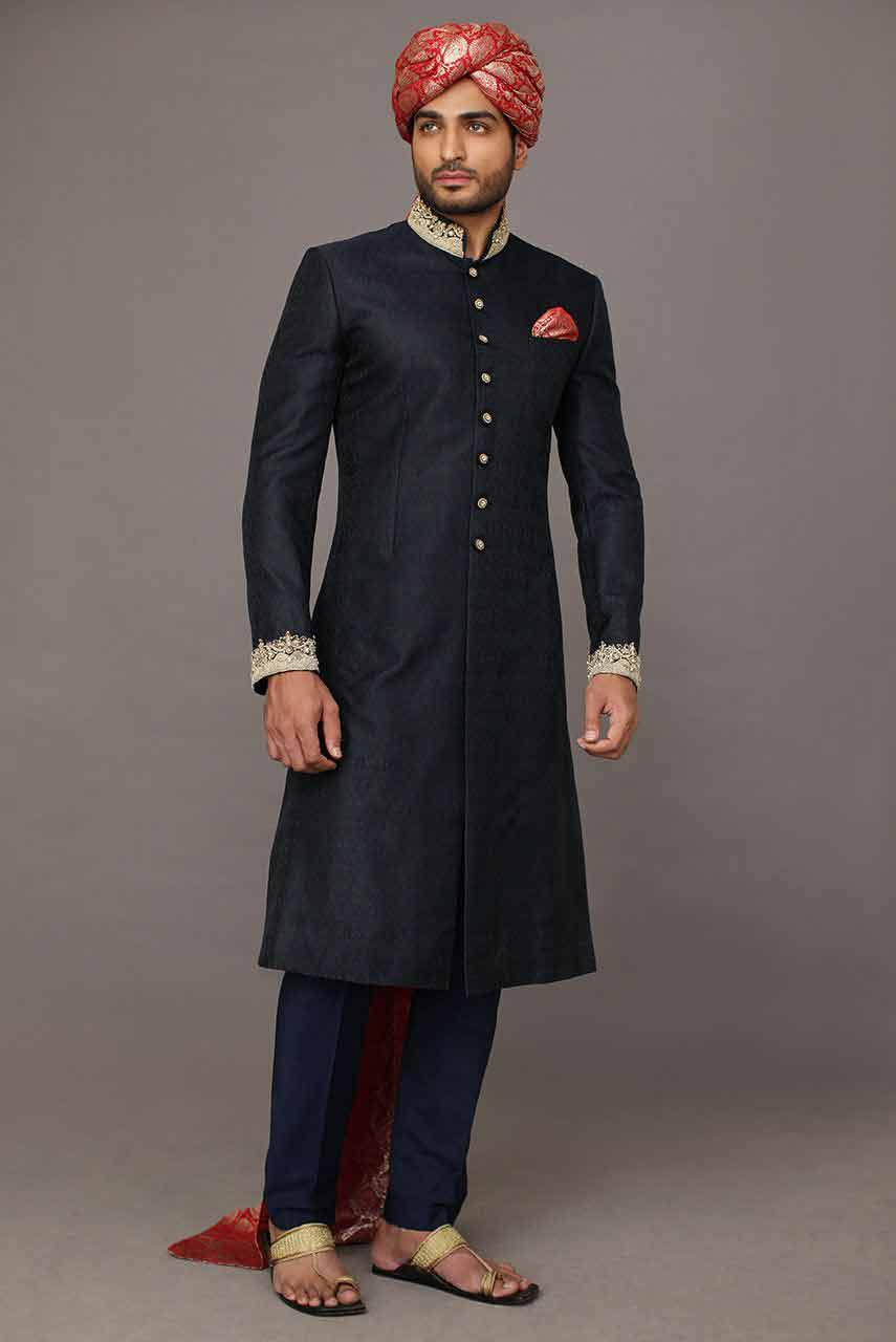 cool black best pakistani mens wedding sherwani barat dresses 2017 with red turban or pagri