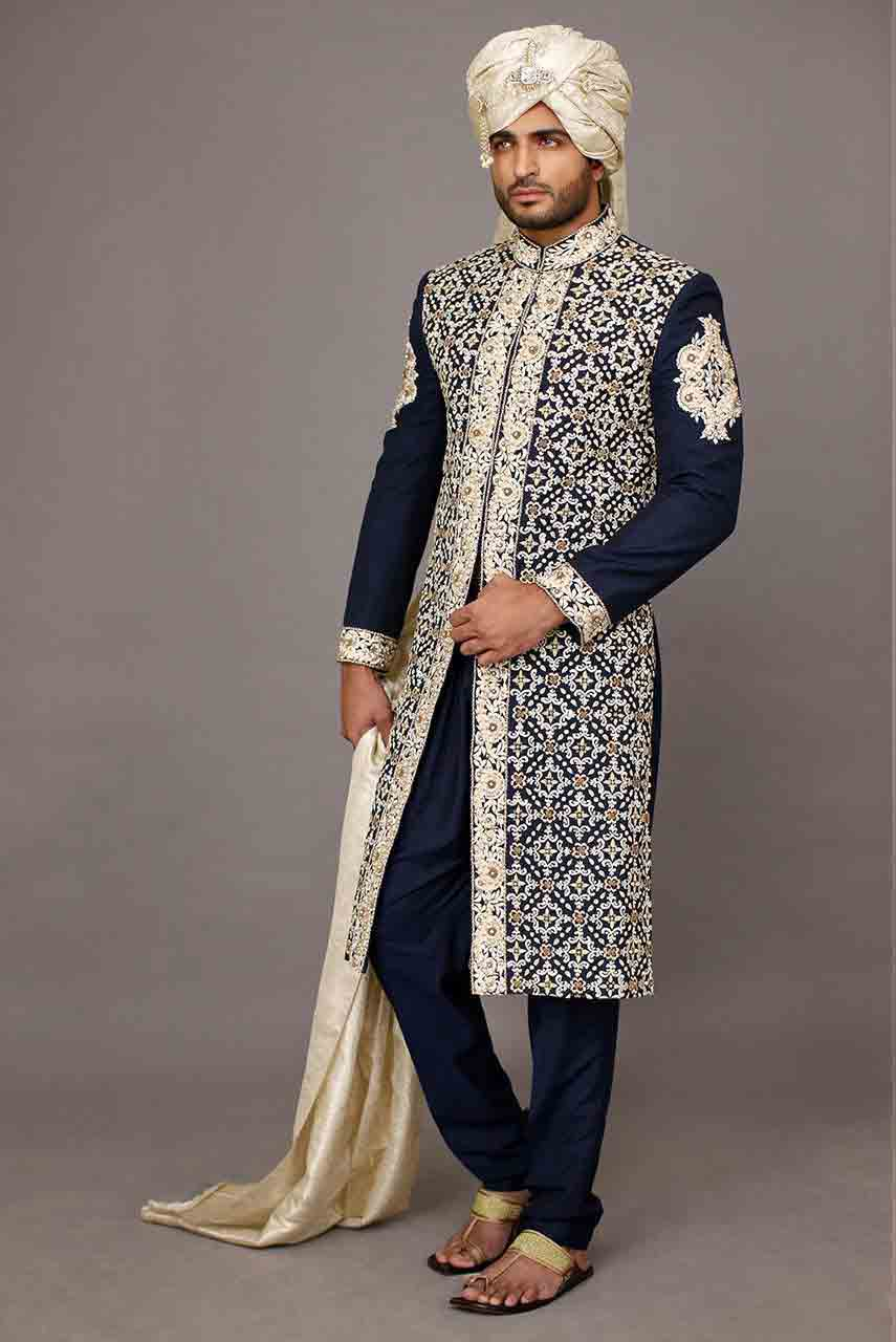 modern navy blue and white best pakistani mens wedding sherwani barat dresses 2017 with white turban and patka or scarf