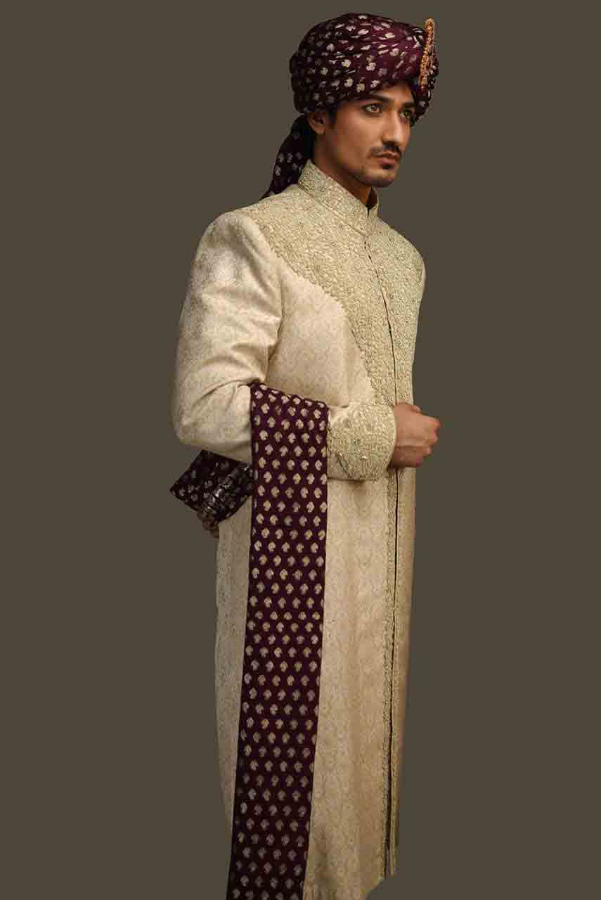 latest off white with magenta scarf or patka pakistani mens wedding sherwani barat dresses 2017