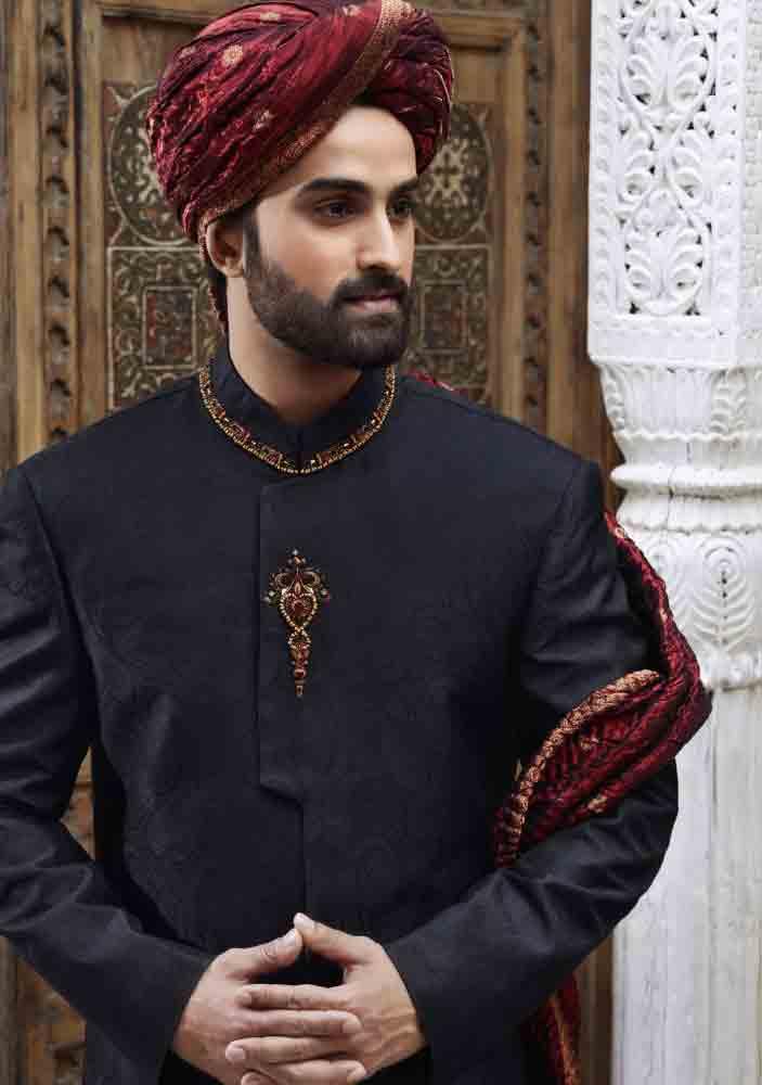 latest black pakistani mens wedding sherwani barat dresses 2017 with maroon pagri or turban