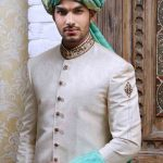 latest pakistani mens wedding sherwani barat dresses 2017 off white sherwani with turban or pagri and yellow patka or dupatta
