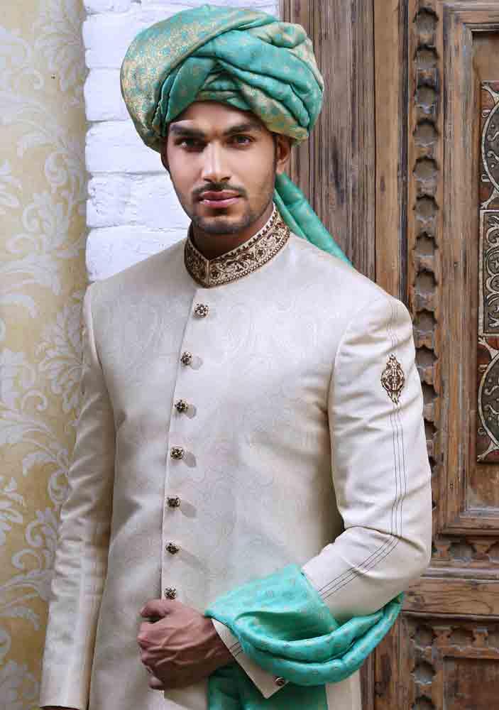 amazing off white pakistani mens wedding sherwani barat dresses 2017 with sea green turban or pagri