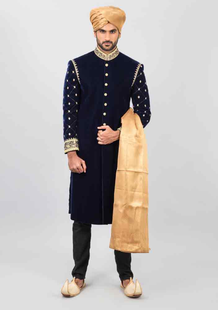 latest dark blue pakistani mens wedding sherwani barat dresses 2017 with golden pagri or turban