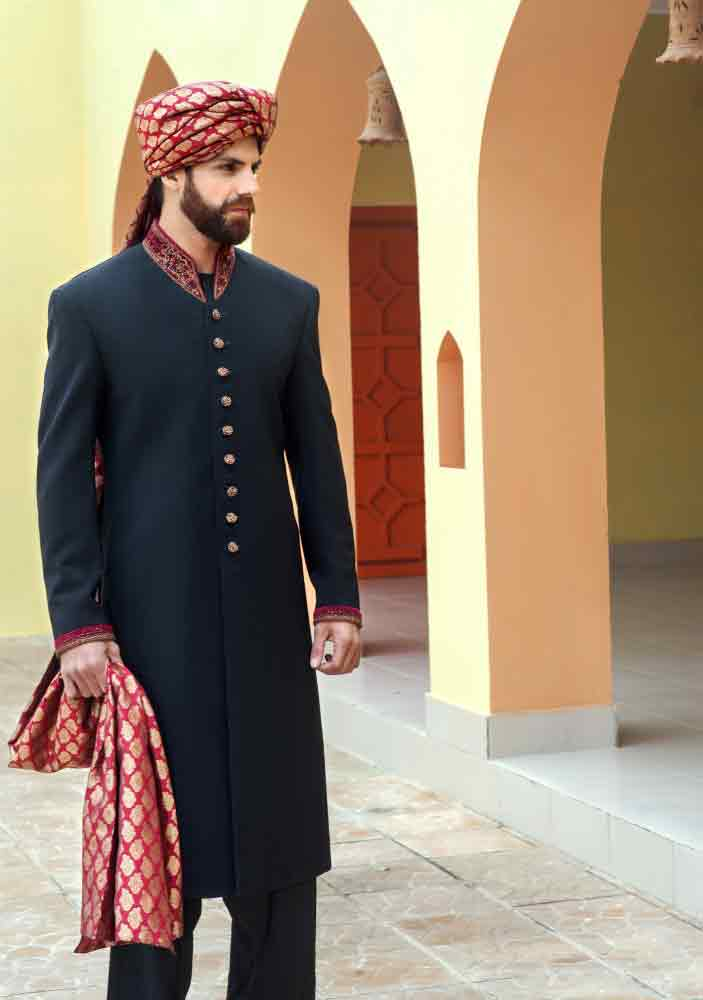 latest black pakistani mens wedding sherwani barat dresses 2017 with red turban and patka