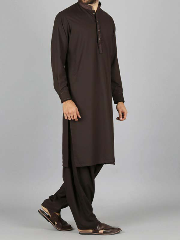 latest dark brown best pakistani men kurta shalwar kameez designs 2017 with same shalwar