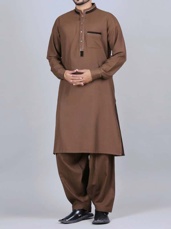 trendy brown best pakistani men kurta shalwar kameez designs 2017 with salwar