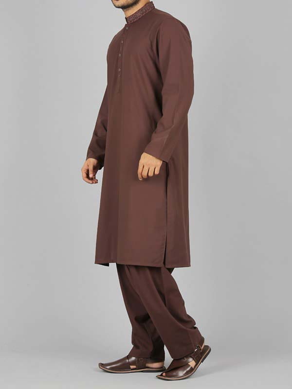 new stylish brown best pakistani men kurta shalwar kameez designs 2017 with brown shalwaar