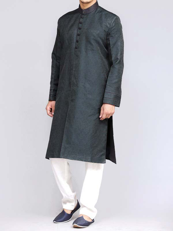 classy blue best pakistani men kurta shalwar kameez designs 2017 with white shlawar