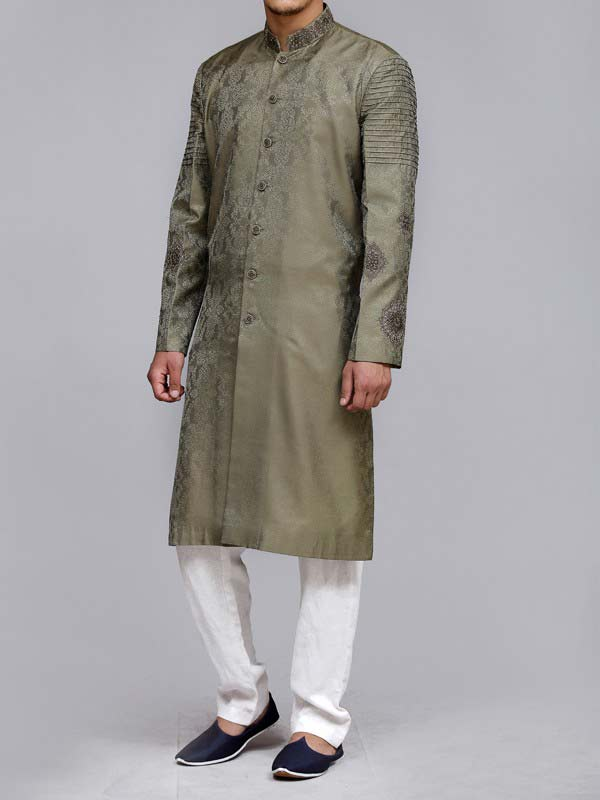 latest green best pakistani men kurta shalwar kameez designs 2017 with white pajama