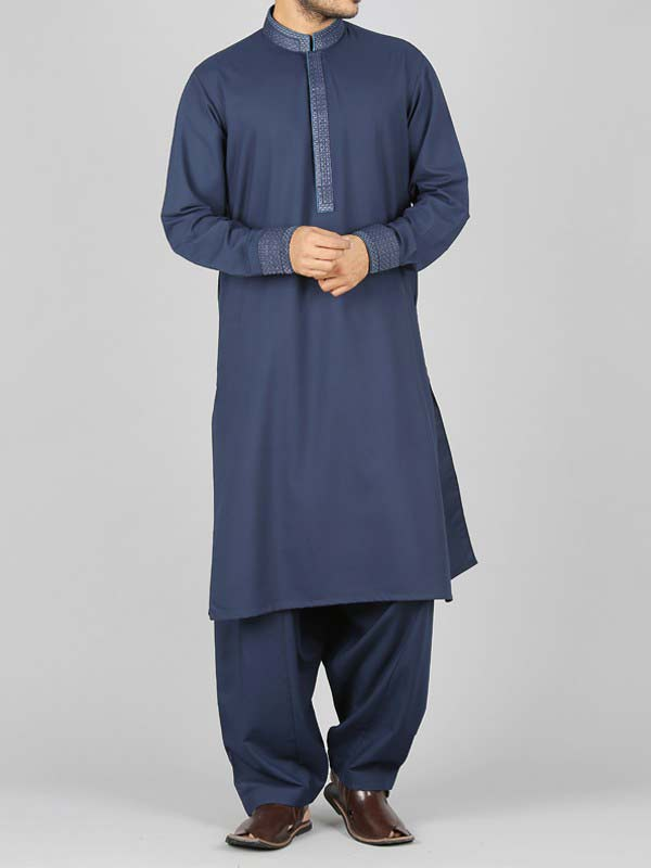 latest blue best pakistani men kurta shalwar kameez designs 2017 with same blue shalwar