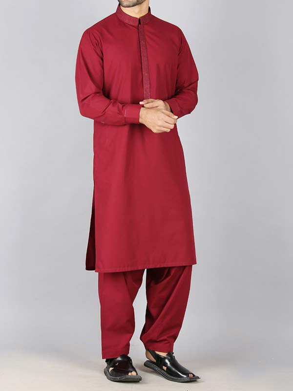 latest red best pakistani men kurta shalwar kameez designs 2017