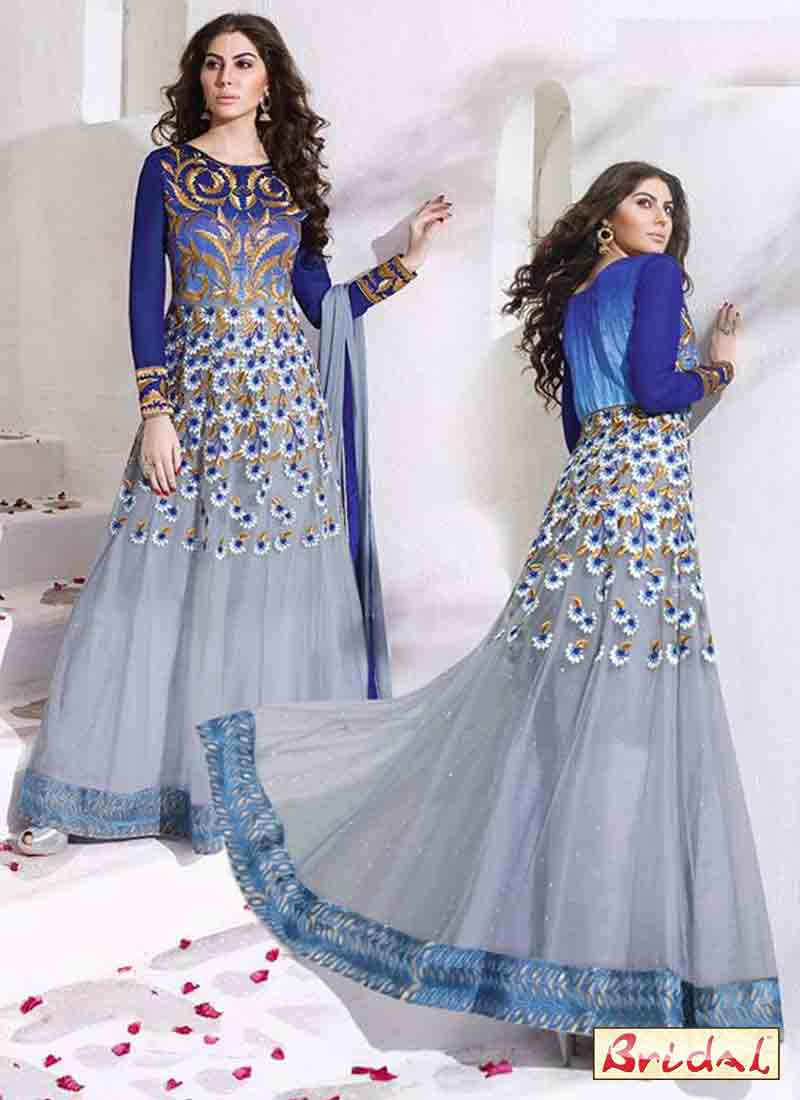 new trendy blue and grey latest indian anarkali frocks and salwar suit dress designs 2017 floor length frock
