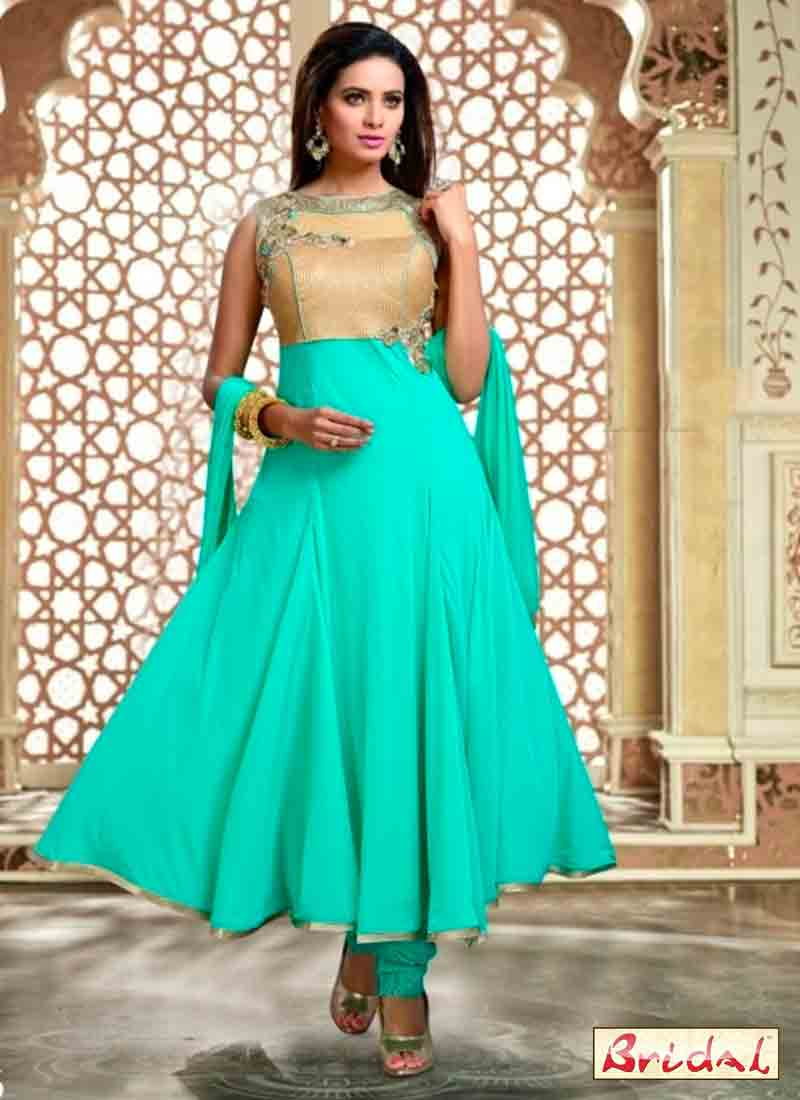 cool sea green and golden latest indian anarkali frocks and salwar suit dress designs 2017 with matching dupatta