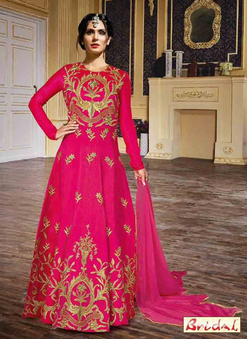 new shocking pink latest indian anarkali frocks and salwar suit dress designs 2017 with matching duapatta for wedding party