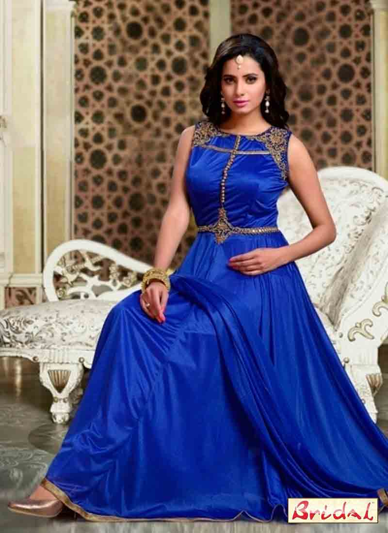 Royal blue latest indian anarkali frocks and salwar suit dress designs 2017 for wedding