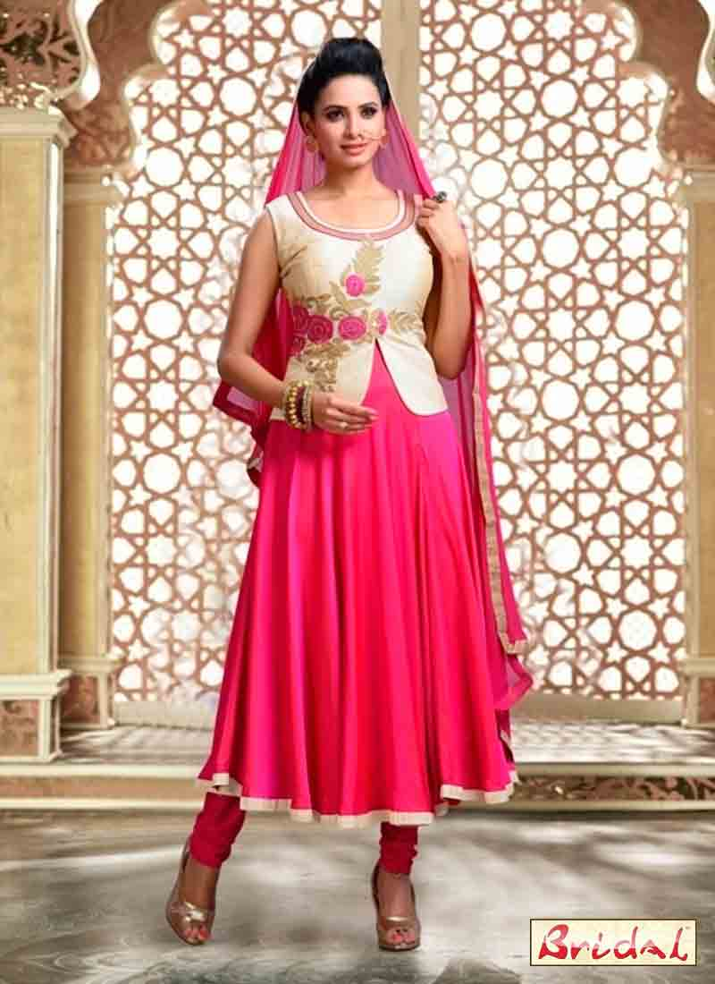 best shocking pink latest indian anarkali frocks and salwar suit dress designs 2017 with matching dupatta