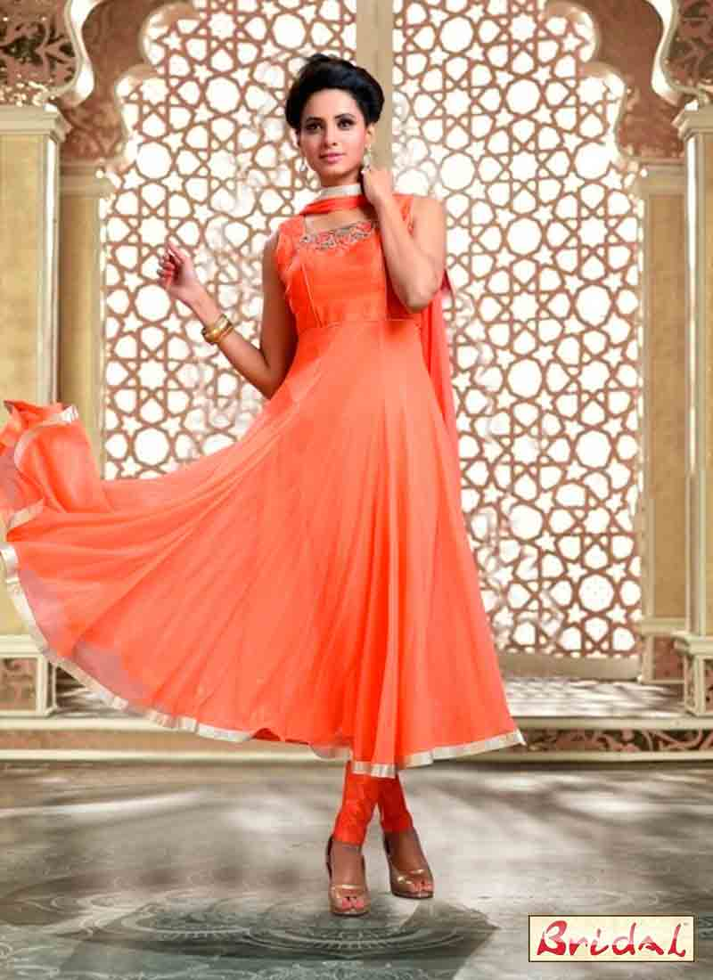 new orange latest indian anarkali frocks and salwar suit dress designs 2017 with dupatta and churidar for party