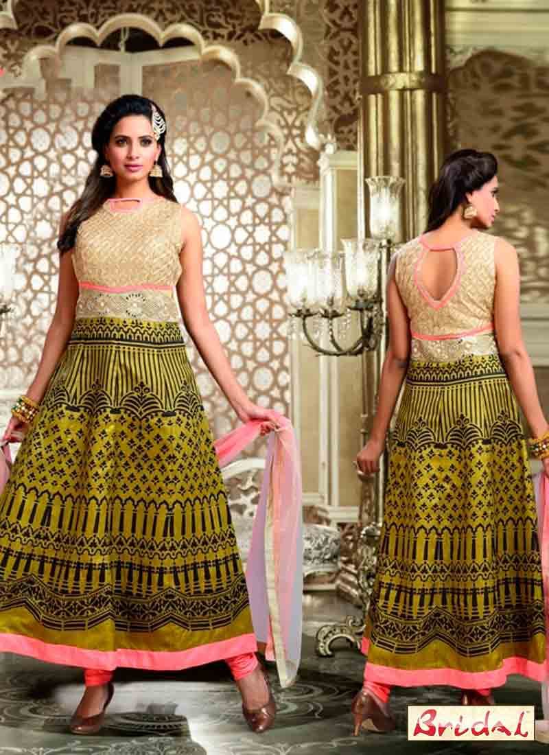 best mehndi green and beige latest indian anarkali frocks and salwar suit dress designs 2017 for party