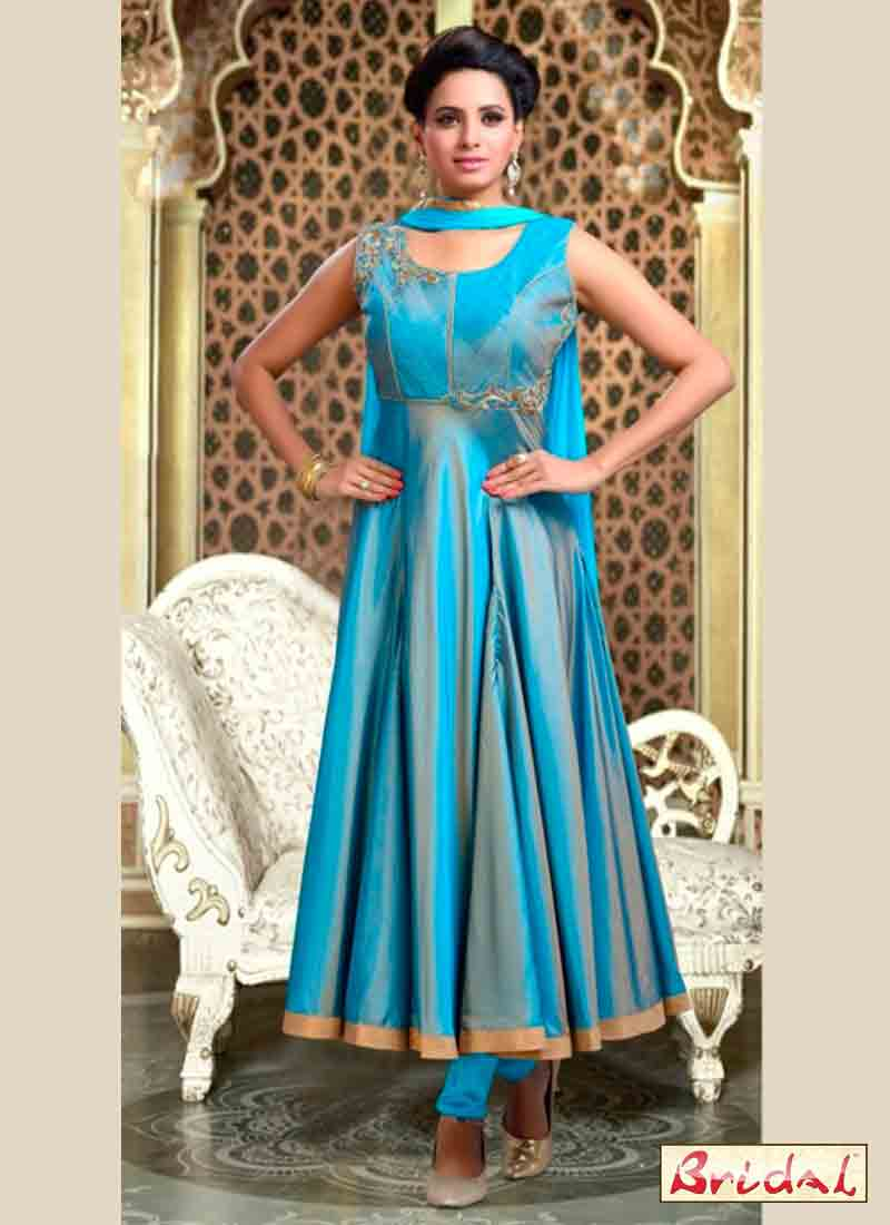 stylish light blue and ferozi latest indian anarkali frocks and salwar suit dress designs 2017 with dupatta